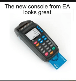 "That'll be $9.99 for the ""Main Menu"" DLC: The new console from EA  looks great  OESIT  CREDIT  PREPAIO  LOALTY CARD  Sw9  CHASEO  DEDIT  VISA That'll be $9.99 for the ""Main Menu"" DLC"