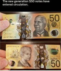 Memes, Australia, and 🤖: The new generation $50 notes have  entered circulation  50  60  08  AUSTRALIA  AUSTRALIA  50  50  50  :50  50  1923
