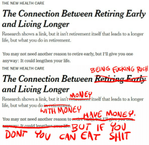 Fucking, Life, and New York: THE NEW HEALTH CARE  The Connection Between Retiring Early  and Living Longer  Research shows a link, but it isn't retirement itself that leads to a longer  life, but what you do in retirement.  You may not need another reason to retire early, but I'll give you one  anyway: It could lengthen your life.   BENG FUCKING RIcH  HE NEW HEALTH CARE  The Connection Between Reriring Erh  and Living Loge  MoNEP  Research shows a link, but it intrentitself that leads to a longer  life, but what yoTeu  You may not need another reason to e  WITH MONE  DONT You CAN EAT SHIT bogleech:fixing typos in the New York Times