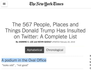 "All stolen, none fresh, low-to-mid-quality memes: The New HorkEimes  The 567 People, Places and  Things Donald Trump Has Insulted  on Twitter: A Complete List  By JASMINE C. LEE and KEVIN QUEALY UPDATED February 20, 2019  Alphabetical  Chronological  A podium in the Oval Office  ""looks odd"" , ""not good""  0 All stolen, none fresh, low-to-mid-quality memes"