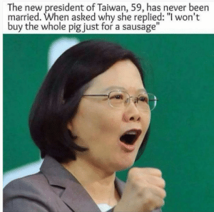 """Memes, Never, and Been: The new president of Taiwan, 59, has never been  married. When asked why she replied: """"l won't  buy the whole pig just for a sausage"""" Microphone dropped via /r/memes https://ift.tt/2M5cR0K"""