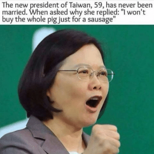 "Savage, Target, and Tumblr: The new president of Taiwan, 59, has never been  married. When asked why she replied: ""l won't  buy the whole pig just for a sausage"" englandisbae:   magicinhermadness:  motherudon:  $tone Cold Killa  New fave  SAVAGE"