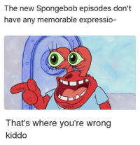 spongebob episodes: The new Spongebob episodes don't  have any memorable expressio-  That's where you're wrong  kiddo