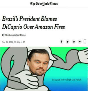 laughoutloud-club:  Now it has gone too far, don't talk about DiCaprio: The New York Times  Brazil's President Blames  DiCaprio Over Amazon Fires  By The Associated Press  Nov. 29, 2019, 12:31 p.m. ET  excuse me what the fuck laughoutloud-club:  Now it has gone too far, don't talk about DiCaprio