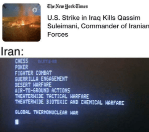 Anyone remember the movie war games?: The New York Times  U.S. Strike in Iraq Kills Qassim  Suleimani, Commander of Iranian  Forces  Iran:  CHESS  POKER  FIGHTER COMBAT  GUERRILLA ENGAGEMENT  DESERT HARFARE  AIR-TO-GROUND ACTIONS  THEATERWIDE TACTICAL WARFARE  THEATERWIDE BIOTOXIC AND CHEMICAL HARFARE  U/UTTLE-BOI  GLOBAL THERMONUCLEAR WAR Anyone remember the movie war games?
