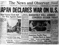 Memes, News, and Lost: The News and Observer 73,04T  APAN DECLARES WAR ON U.S  Uhited Nation Girds SelfROOSEVELT WILL ADDRESS  - CONGRESS SESSION TODAY  For War Against Japan  WAR DECARATION  Tank Battle Res ArainS  In Desert Arena of Libya  Strikes Back at Japan The courage and bravery of the men and women who lost their lives on this day 76 years ago will never be forgotten. 🇺🇸
