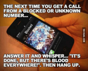 "Best, Time, and Answer: THE NEXT TIME YOU GET A CALL  FROM A BLOCKED OR UNKNOWN  NUMBER...  ANSWER IT AND WHISPER....""IT'S  DONE, BUT THERE'S BLOOD  EVERYWHERE!"" THEN HANG UP. Best idea ever!"