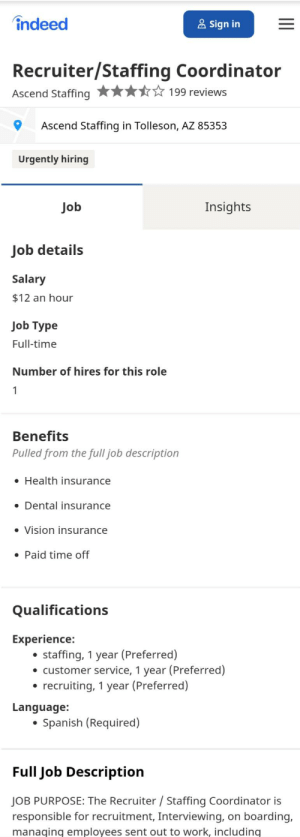 The next time you get frustrated with your Ascend Staffing Recruiter keep in mind they're making minimum wage & needed a year experience to get the job!: The next time you get frustrated with your Ascend Staffing Recruiter keep in mind they're making minimum wage & needed a year experience to get the job!