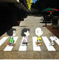 Charlie, Memes, and Craig: The next time you visit the Museum, make sure to walk across the street to @snoopyshomeice for a fun photo-op with this new optical illusion art piece featuring Marcie, Lucy, Charlie Brown, and Snoopy. Craig Schulz had this Universal Studios Japan replica made from durable adhesive vinyl.