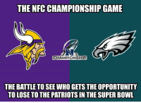 NFC Championship Game, Nfl, and Patriotic: THE NFC CHAMPIONSHIP GAME  RI  CHAMPIONSHIP  THE BATTLE TO SEE WHO GETS THE OPPORTUNITY  TO LOSE TO THE PATRIOTS IN THE SUPER BOWL So true!