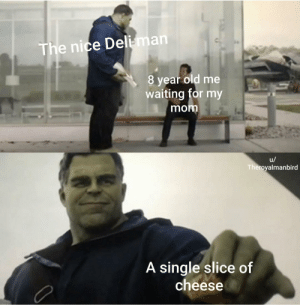 Me irl by TheRoyalManbird MORE MEMES: The nice Deli-man  8 year old me  waiting for my  mom  u/  Theroyalmanbird  A single slice of  cheese Me irl by TheRoyalManbird MORE MEMES