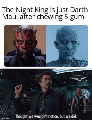 We noticed: The Night King is just Darth  Maul after chewing 5 gum  Thought we wouldn't notice, but we did.  imgflip.com We noticed