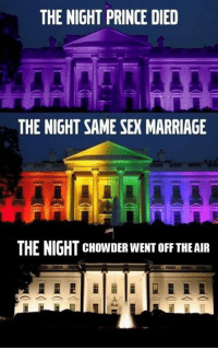 Dank, Marriage, and Prince: THE NIGHT PRINCE DIED  THE NIGHT SAME SEX MARRIAGE  THE NIGHT CHowDER WENT oFFTHE AIR *was legalized
