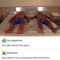 Ass, Funny, and Business: the-nipperman  the calm before the storm  kyleraynxr  this caption has no business being that funny spiderman slap ass