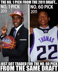 Memes, Stars, and 🤖: THE NO. 1 PICK FROM THE 2011 DRAFT  NO. 1 PICK INO. 60 PICK  2011  2011  NIMAS  @NBAMEMES  JUST GOT TRADED FOR THE N0. 60 PICK  FROM THE SAME DRAFT 2 All-Stars. 2 different stories. https://t.co/kbc77kRDjv
