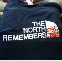 game-of-thrones-fans:  My mom got me this apparel today.: THE  NORTH  REMEMBERSR game-of-thrones-fans:  My mom got me this apparel today.