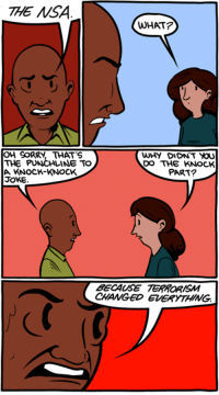 Memes, Knock Knock Jokes, and Comics: THE NSA  WHAT?  OH CORRY, THAT'S  WHY DIDNT  THE PUNCHLINE TO  DO THE KNOCK  PART?  A KNOCK-KNOCK  JOKE.  BECAUSE TERRORISM  CHANGED EaERYTLING. http://www.smbc-comics.com/?id=3194