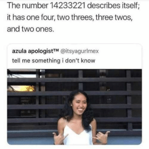 : The number 14233221 describes itself;  it has one four, two threes, three twos,  and two ones.  azula apologistTM @itsyagurlmex  tell me something i don't know