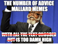 Just stop.: THE NUMBER OF ADVICE  MALLARD MEMES  OUHISTOO DAMN HIGH Just stop.