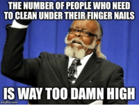 Reddit, Nails, and Pictures: THE NUMBER OF PEOPLE WHO NEED  TO CLEAN UNDER THEIR FINGER NAILS  IS WAY TOO DAMN HIGH  imgflip.com After seeing thousands of reddit pictures with hands in them.
