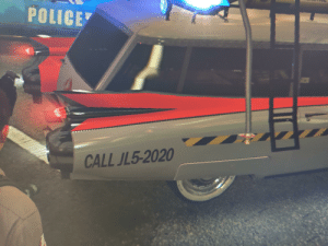 The number on the back of the Ecto-1b is JL5-2020, a reference to the fact that the release of Ghostbusters: Afterlife is NOT released on the 5th of July 2020. It is instead released on the 10th of July 2020.: The number on the back of the Ecto-1b is JL5-2020, a reference to the fact that the release of Ghostbusters: Afterlife is NOT released on the 5th of July 2020. It is instead released on the 10th of July 2020.