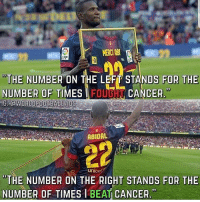 "Barcelona, Memes, and Cancer: ""THE NUMBER ON THE LEFT STANDS FOR THE  NUMBER OF  TIMES TFOL  CANCER.""  9  WORLDFOOTBALLVIDS  ABIDAL  unicef  ""THE NUMBER ON THE RIGHT STANDS FOR THE  NUMBER OF TIMES I BEAT CANCER  93 Never stop fighting - a lesson from Eric Abidal ⚽️🏆🔥 Abidal Barcelona FuckCancer"