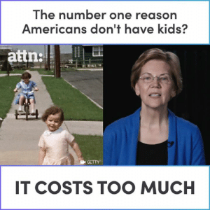 Childcare is more expensive than college tuition in 28 states. — Elizabeth Warren: The number one reason  Americans don't have kids?  GETTY  IT COSTS TOO MUCH Childcare is more expensive than college tuition in 28 states. — Elizabeth Warren