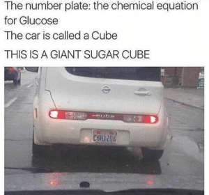 Giant, Sugar, and Car: The number plate: the chemical equation  for Glucose  The car is called a Cube  THIS IS A GIANT SUGAR CUBE  C6H1206