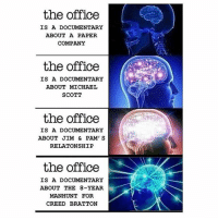 Memes, Michael Scott, and The Office: the office  IS A DOCUMENTARY  ABOUT A PAPER  COMPANY  the office  IS A DOCUMENTARY  ABOUT MICHAEL  SCOTT  the office  IS A DOCUMENTARY  ABOUT JIM & PAM' S  RELATONSHIP  the office  IS A DOCUMENTARY  ABOUT THE 8-YEAR  MANHUNT FOR  CREED BRATTON i am woke now