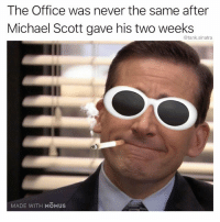 Android, Click, and Funny: The Office was never the same after  Michael Scott gave his two weeks  @tank.sinatra  MADE WITH MOMUS I made this meme using my app Momus Meme Studio with clean templates and custom sticker packs. Click the link in my bio or search for it on the App Store. Android version coming soon (ish).