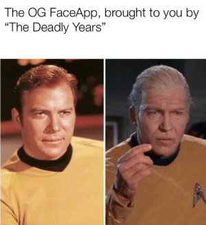 """With a side of forgetfulness: The OG FaceApp, brought to you by  """"The Deadly Years"""" With a side of forgetfulness"""
