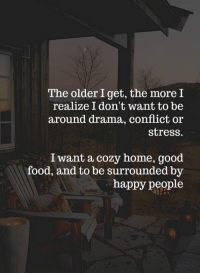 Food, Girls, and Memes: The older I get, the more I  realize I don't want to be  around drama, conflict or  stress.  I want a cozy home, good  food, and to be surrounded by  happy people What Girls Like <3