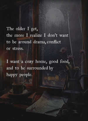 Food, Good, and Happy: The older I get,  the more I realize I don't want  to be around drama, conflict  or stress  I want a cozy home, good food,  and to be surrounded by  happy people.