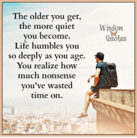 Life, Quiet, and Quotes: The older you get,  the more quiet  you become.  Life humbles you  so deeply as you age.  You realize how  much nonsense  you've wasted  time on  Wisdom  Quotes www.wisdomquotes4u.com