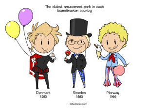 Dank, Food, and Denmark: The oldest amusement park in each  Scandinavian country  Denmark  1583  Sweden  1883  Norway  1966  satwcomic.com I'm sick this week, so you get a simple one I really enjoyed drawing.  Denmark's park, Bakken, is so old it started out as a clean spring that people went to for water, then performers started entertaining the visitors, then food stalls were built and finally people started building amusement rides. It was just a natural thing that happened and somehow it kept going to this day. You have to pay for the rides but you can still get into the park for free and just wander around because that's how it has always been.  My site https://satwcomic.com/