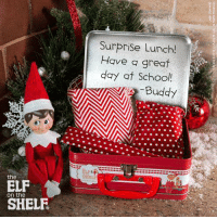 Do you do Elf on the Shelf?!   Here's a cute idea! -Jana: the  on the  SHELF  Surprise Lunch!  Have great  day at School! Do you do Elf on the Shelf?!   Here's a cute idea! -Jana