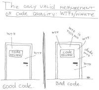 As a programmer, I can confirm the pain is real... http://9gag.com/gag/a1eAAPR?ref=fbp: The one  e ONLY VALicl measuremen/T  OF Code QUALITv: WTFs /M INUTF  WTFs/miNure  S/MINuTe  MTF  wt F  IS /S  a WTF  code  WTF  code  Review  Review  | | WTF  Good Code  BAd code. As a programmer, I can confirm the pain is real... http://9gag.com/gag/a1eAAPR?ref=fbp