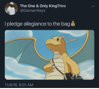 Allegiance, One, and Pledge: The One & Only KingTrivv  @DaimarrKeys  I pledge allegiance to the bag š  11/4/18, 8:01 AM Secure the bag!