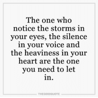 Memes, 🤖, and Storm: The one who  notice the storms in  your eyes, the silence  in your voice and  the heaviness in your  heart are the one  you need to let  in  THE GOOD QUOTE TheGoodQuote