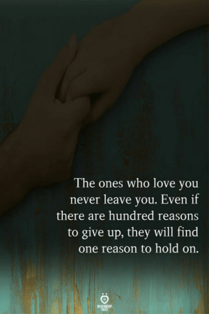 Love, Never, and Reason: The ones who love you  never leave you. Even if  there are hundred reasons  to give up, they will find  one reason to hold on.