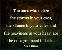 Memes, 🤖, and Storm: The ones who notice  the storms in your eyes,  the silence in your voice and  the heaviness in your heart are  the ones you need to let in  Spirit Science Follow our new page @alaskanhashqueen
