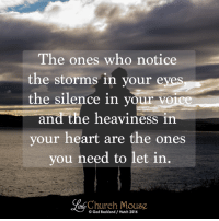 Church, Doe, and Memes: The ones who notice  the storms in your eyes  the silence in your voice  and the heaviness in  your heart are the ones  you need to let in  Church Mouse  Ged Backland Hutch 2016 Does this make you think of anyone? ☺️