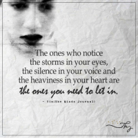Memes, Voice, and Silence: The ones who notice  the storms in your eyes,  the silence in your  voice and  the heaviness in your heart are  the ones you need ta lea in  Vi a (The Min d s J o u r n a l) The Minds Journal <3