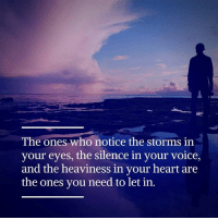 Memes, Voice, and Silence: The ones who notice the storms in  your eyes, the silence in your  voice,  and the heaviness in your heart are  the ones you need to let in.