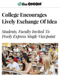 College, School, and The Onion: the ONION  College Encourages  Lively Exchange Of Idea  Students, Faculty Invited To  Freely Express Single Viewpoint <p>My old school legitimately did this.</p>