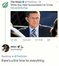Crime, Time, and White: The OnionTheOnion 1d  White Guy Held Accountable For Crime  trib.al/QmkJ7ga  139 t,02 14.9K  aidan 2  @uhhaidan  Replying to @TheOnion  there's a first time for everything Theres a first time for everything