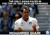 Asian, Memes, and Pacer: THE ONLY ASIAN PACER IN  THE TOP 20 TEST BOWLER RANKINGS  Star  279  MOHAMMED SHAMI Mohammed Shami achieves his career-best 19th rank in Tests.