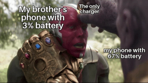 Phone, Reddit, and True: The only  charger  My brother's  phone with  3% battery  my phone with  67% battery True dat