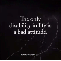 Bad Attitude: The only  disability in life is  a bad attitude.  I THE AWESOME QUOTES