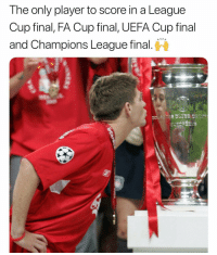 Memes, Champions League, and 🤖: The only player to score in a League  Cup final, FA Cup final, UEFA Cup final  and Champions League final. 👑🔐 OTD 2016: Gerrard announces the end of a legendary career ❤️